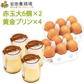 岩田のおいしい卵6個×2パックと黄金プリン4個セット