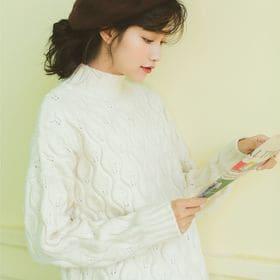 【ホワイト/F】ハイネックデザインニット 7251