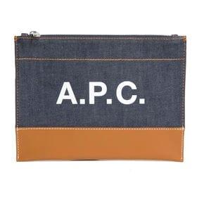 [A.P.C.]ポーチ AXELLE POCHETTE(デニム×キャメル) | ポーチとしてはもちろん、クラッチバッグとしても使える優秀アイテム♪