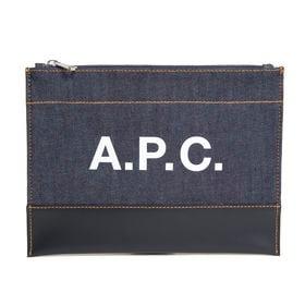 [A.P.C.]ポーチ AXELLE POCHETTE(デニム×ブラック) | ポーチとしてはもちろん、クラッチバッグとしても使える優秀アイテム♪
