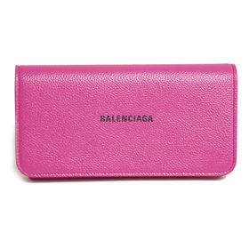 {BALENCIAGA]長財布  CASH CONTINENTAL WALLET(ピンク) | 柔らかいカーフスキンとアクセントを添えるブランドロゴが魅力のアイテム!