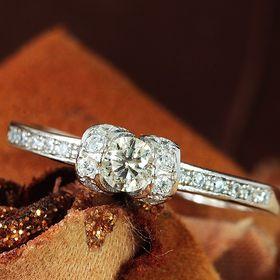 【13号】天然ダイヤモンド0.2ct デザインリング SIク...