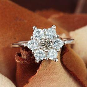【17号】天然ダイヤモンド0.2ct フラワーデザインリング...