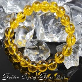 大粒10mm幸せのゴールデンクリスタルグラスブレス