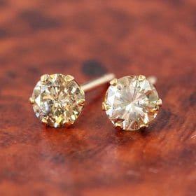 天然ダイヤモンド計0.4ctピアス k18  イエローゴール...
