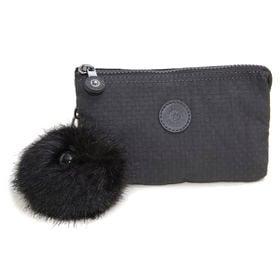 [Kipling]ポーチ CREATIVITY L (ブラック) | 3つに分かれたポケットで細かいものもすっきり持ち運べます♪