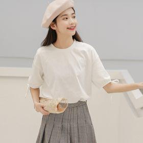 【ホワイト/F】ボリュームスリーブリボンTシャツ 7331
