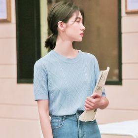 【ブルー/F】リブデザイン サマーニット トップス 7393