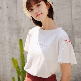 【ホワイト/F】ベーシックフリルフェミニンTシャツ 7361