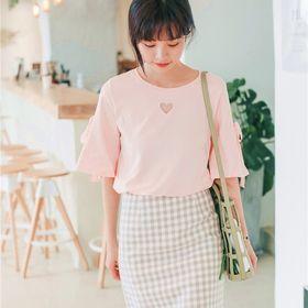【ピンク/F】ハートリボンフレアTシャツ 7363