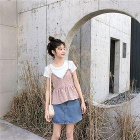 【ピンク/F】半袖インナー付きチェックキャミソールセット 7...