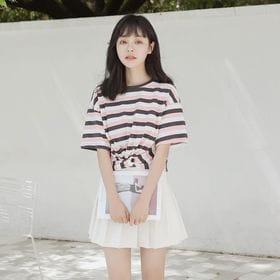 【ピンク/F】ツイストデザインボーダーTシャツ 7368