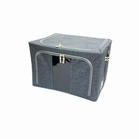 【グレー2個セット】スタッキング窓付き収納ボックス(66L)