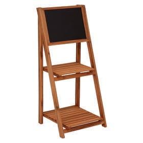 【2段】黒板付きの折りたたみ式木製スタンド
