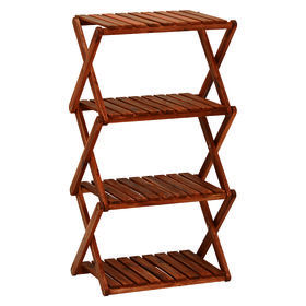 【4段】コンパクトに折りたたむことができる木製ラック