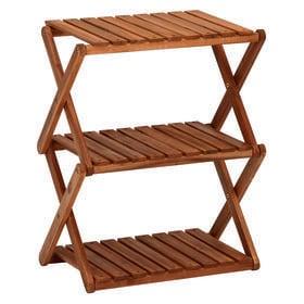 【3段】コンパクトに折りたたむことができる木製ラック
