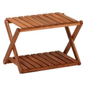 【2段】コンパクトに折りたたむことができる木製ラック