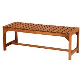 背もたれがないシンプルな木製ガーデンベンチ