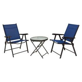 【ネイビー】ガーデンチェア2点とガーデンテーブルの3点セット...