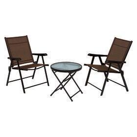 【ブラウン】ガーデンチェア2点とガーデンテーブルの3点セット