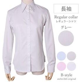 【M/グレー】レギュラー衿 レディースシャツ 長袖