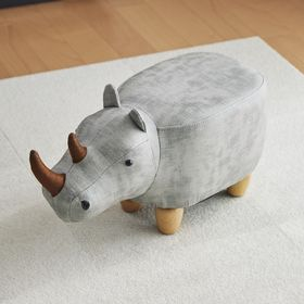 【ベージュ】アニマルモチーフのスツール Rhino Jr.(...