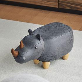 【グレー】アニマルモチーフのスツール Rhino Jr.(リ...
