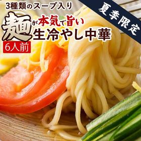 【6人前】麺が本気で旨い生冷し中華 タレ付き(3種)