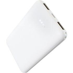 【ホワイト】 モバイルバッテリー 2ポート 5000mAh ...