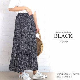 【ブラックL】花柄ロングプリーツスカート