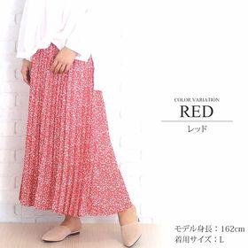 【レッドL】花柄ロングプリーツスカート