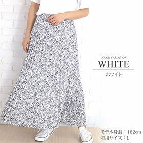 【ホワイトL】花柄ロングプリーツスカート