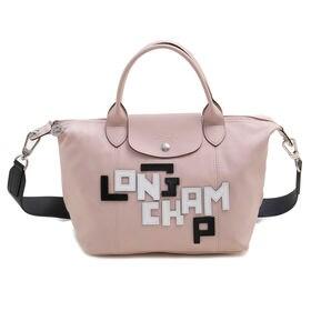 [Longchamp]トートバッグ LE PLIAGE CUIR LGP HANDBAG S ピンク | ポップでモダンなロゴが魅力的!手持ちと肩掛けの両方使える2WAYバッグ♪