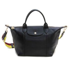 [Longchamp]トートバッグ LE PLIAGE CUIR HANDBAG S ブラック | レザーで仕立てた高級感溢れるルックスが◎手持ちと肩掛けの両方使える2WAYバッグ♪