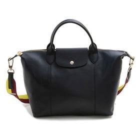 [Longchamp]トートバッグ LE PLIAGE CUIR HANDBAG M ブラック | A4サイズが収納でき通勤や通学にぴったりのMサイズ!ショルダーストラップ可能♪