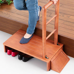 【70cm幅】木製手すり付き玄関踏み台