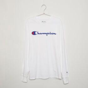 【Sサイズ】[CHAMPION]メンズ CLASSIC GRAPHIC L/S TEE ホワイト | フロントにあしらったブランドロゴがアクセントに◎一枚持っていると重宝しそう!
