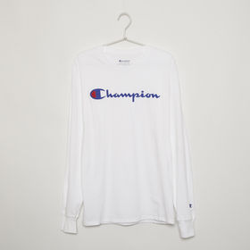 【Mサイズ】[CHAMPION]メンズ CLASSIC GRAPHIC L/S TEE ホワイト | フロントにあしらったブランドロゴがアクセントに◎一枚持っていると重宝しそう!
