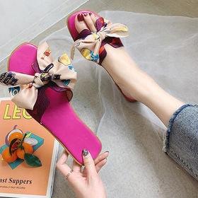 【ピンク・240mm】リボン飾り花柄プリントサマーサンダル
