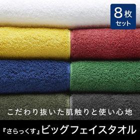 【ホワイト】【8枚組】ビックフェイスタオル さらっくす
