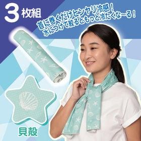 【3枚組/貝殻】クールデザインタオル 3枚組