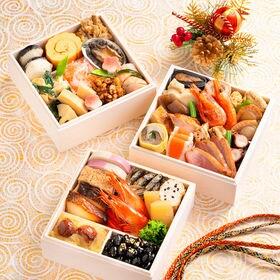 「オリトのおせち」三段重+本格博多しろ味噌もつ鍋セット 冷凍