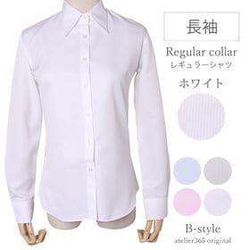 【LL/ホワイト】レディースシャツ 長袖 レギュラー衿
