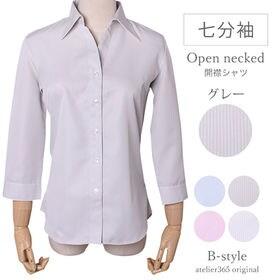 【M/グレー】レディースシャツ 7分袖 開襟