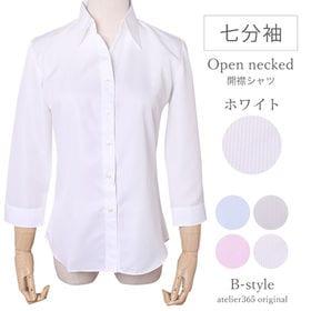 【S/ホワイト】レディースシャツ 7分袖 開襟