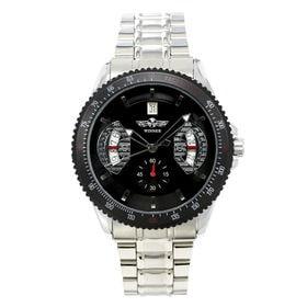 自動巻き腕時計 カラフルフェイス ギョーシェ 日付カレンダー ATW007-BKST メンズ腕時計 | 手巻き機能付き自動巻腕時計 保証付き