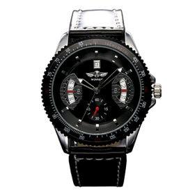 自動巻き腕時計 カラフルフェイス ギョーシェ 日付カレンダー ATW007-BLK メンズ腕時計 | 手巻き機能付き自動巻腕時計 保証付き