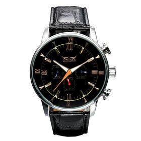 自動巻き腕時計 デイデイト 日付カレンダー 24時間計 ATW011-SVBK メンズ腕時計   手巻き機能付き自動巻腕時計 保証付き