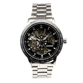 自動巻き腕時計 スケルトンデザイン シンプル ATW012-BLK メンズ腕時計   手巻き機能付き自動巻腕時計 保証付き
