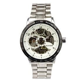 自動巻き腕時計 スケルトンデザイン シンプル ATW012-WHT メンズ腕時計   手巻き機能付き自動巻腕時計 保証付き